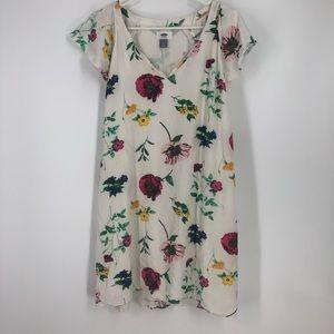 Floral white beach tropical dress medium